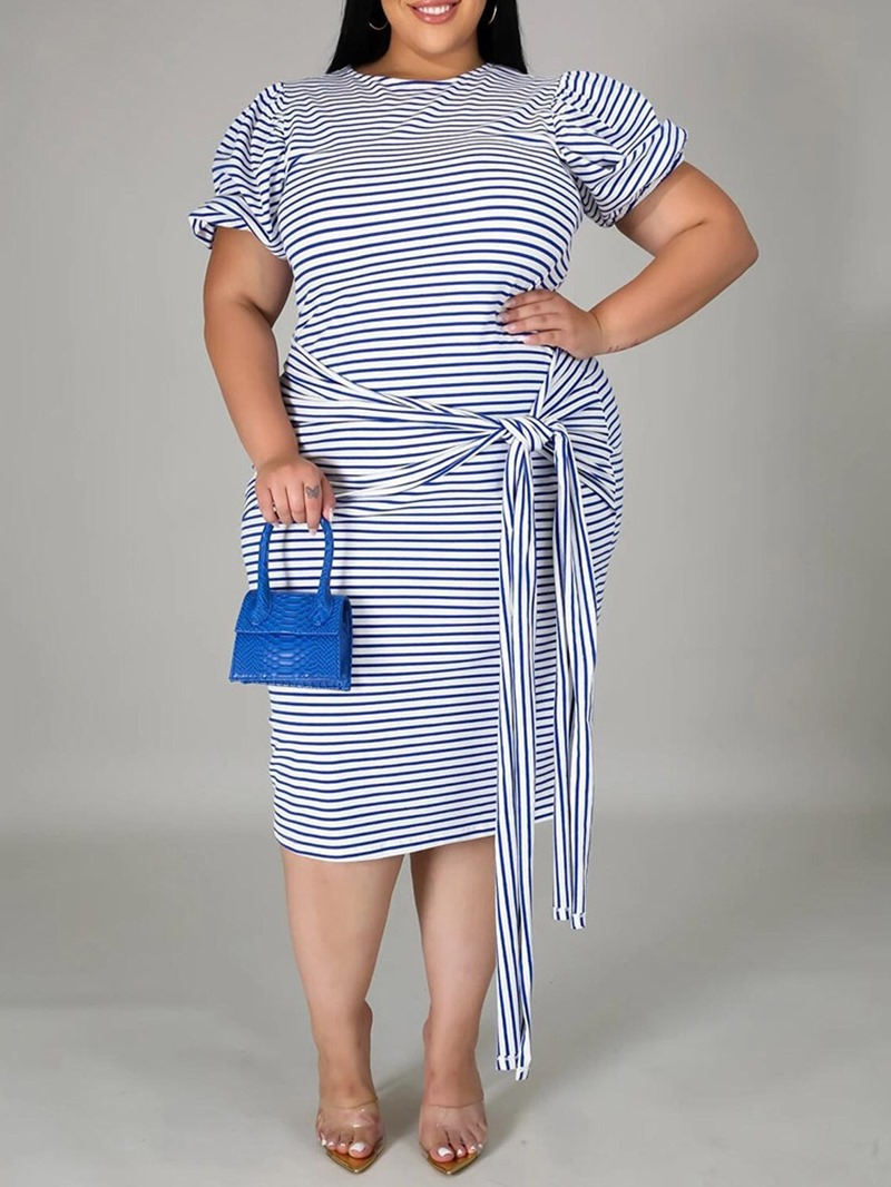Ericdress Plus Size Mid-Calf Short Sleeve Round Neck Bodycon Pullover Dress