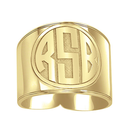 Personalized Circle Block Monogram Ring, 8 1/2 , Yellow