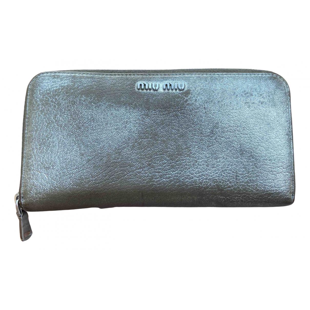 Miu Miu - Portefeuille   pour femme en cuir - argente