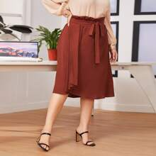Plus Paperbag Waist Pleated Draped Front Skirt