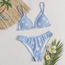 Star Print Bikini Swimsuit