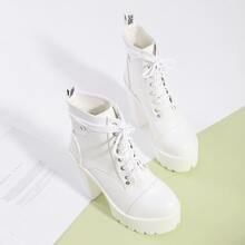 Lace-up Front Platform Chunky Heeled Boots