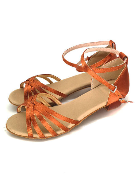 Milanoo Zapatos de baile de saten Naranja punta abierta Criss Cross Zapatos de baile latino Zapatos de baile de salon para niños