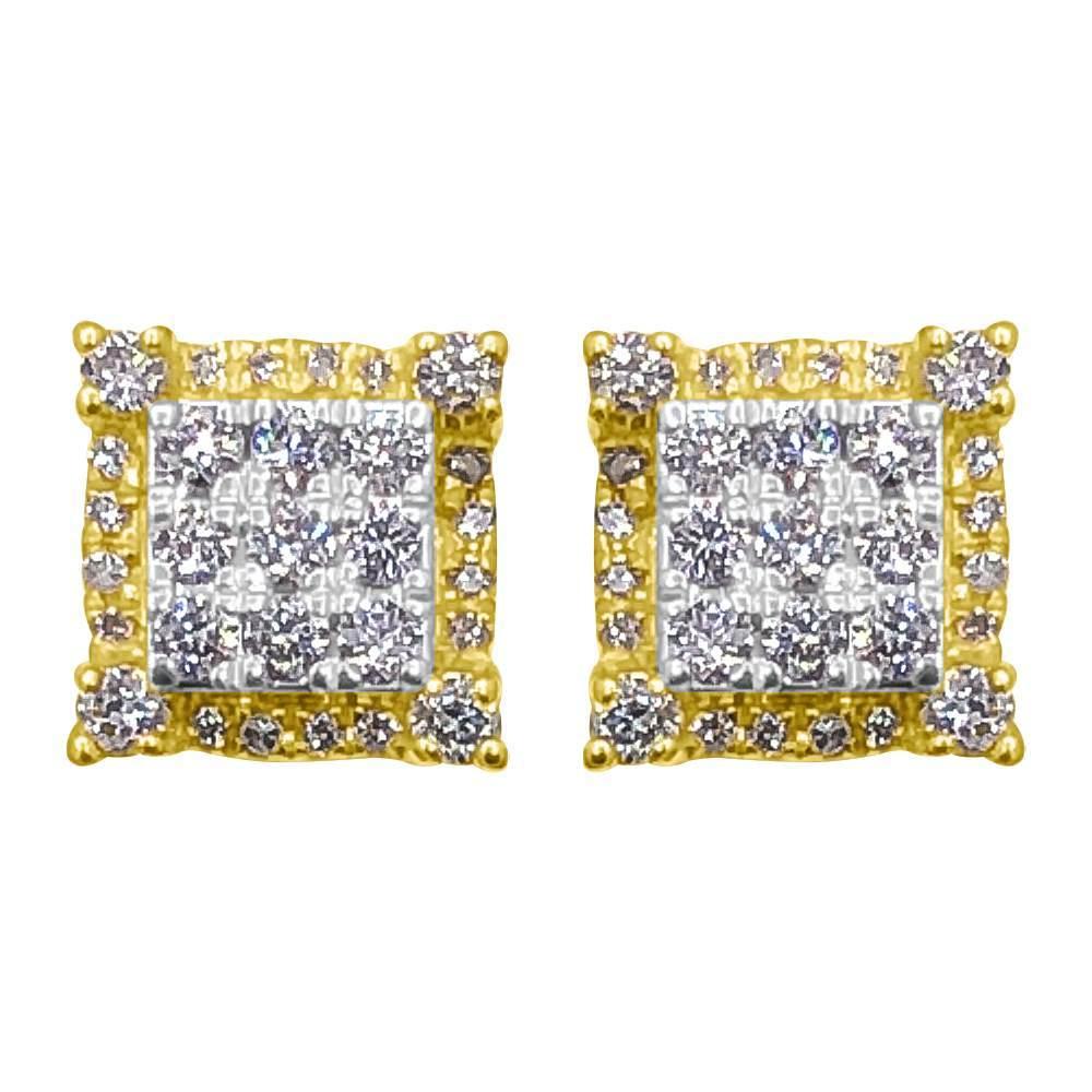 3D Cube Box .44cttw Diamond Earrings 14K Yellow Gold