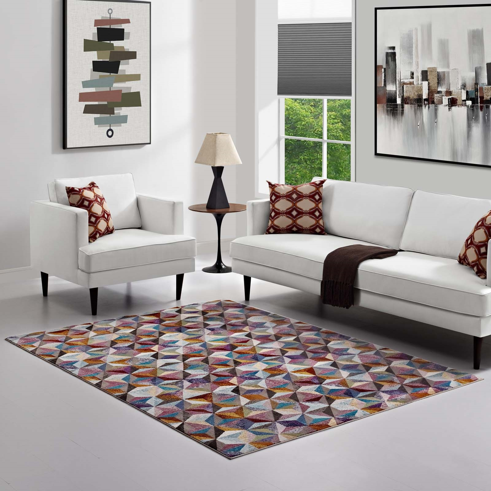 Arisa Geometric Hexagon Mosaic 5x8 Area Rug  in Multicolored