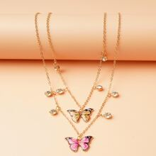 Girls Butterfly Charm Layered Necklace