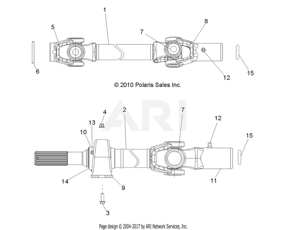 Polaris OEM 1332908 ASM., PROPSHAFT, FRONT W/BEARING | [INCL. 5, 7, 9-13]