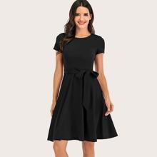 Dressystar Einfarbiges Kleid mit Guertel