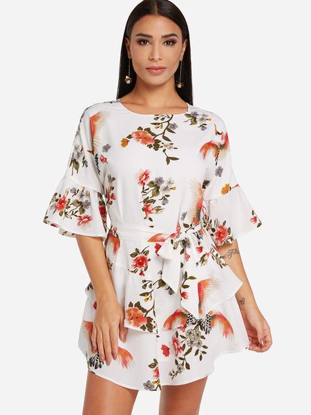 Yoins White Self-tie Design Random Floral Print Round Neck Flared Sleeves Dress