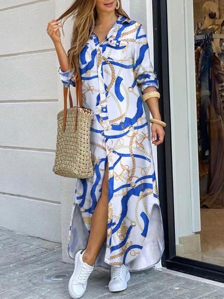 Milanoo Women Shirt Dresses Blue Turndown Collar Long Sleeve Denim Maxi Dress
