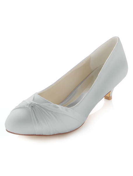 Milanoo Kitten Heel Wedding Shoes Low Heel Satin Mother Shoes Bridal Pumps