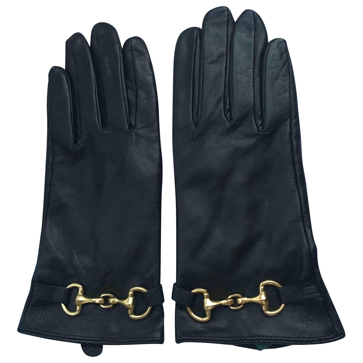 Lauren Ralph Lauren \N Black Leather Gloves for Women M International