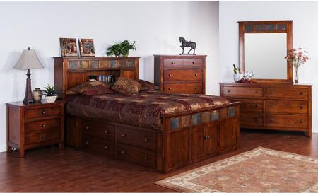 Santa Fe Collection 2334DCSKBDM2NC 6-Piece Bedroom Set with Storage King Bed  Dresser  Mirror   2 Nightstands and Chest in Dark Chocolate