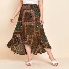 Plus Tribal & Floral Print Asymmetrical Ruffle Hem Skirt