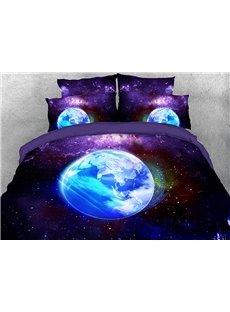 Vivilinen Purple Galaxy Earth Modern Style Cotton 3D 4-Piece Bedding Sets/Duvet Covers