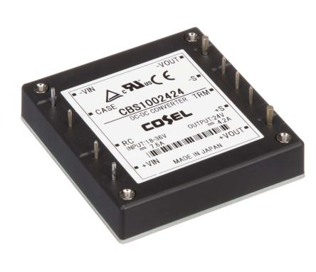Cosel 100.8W Isolated DC-DC Converter Through Hole, Voltage in 18 → 36 V dc, Voltage out 24V dc