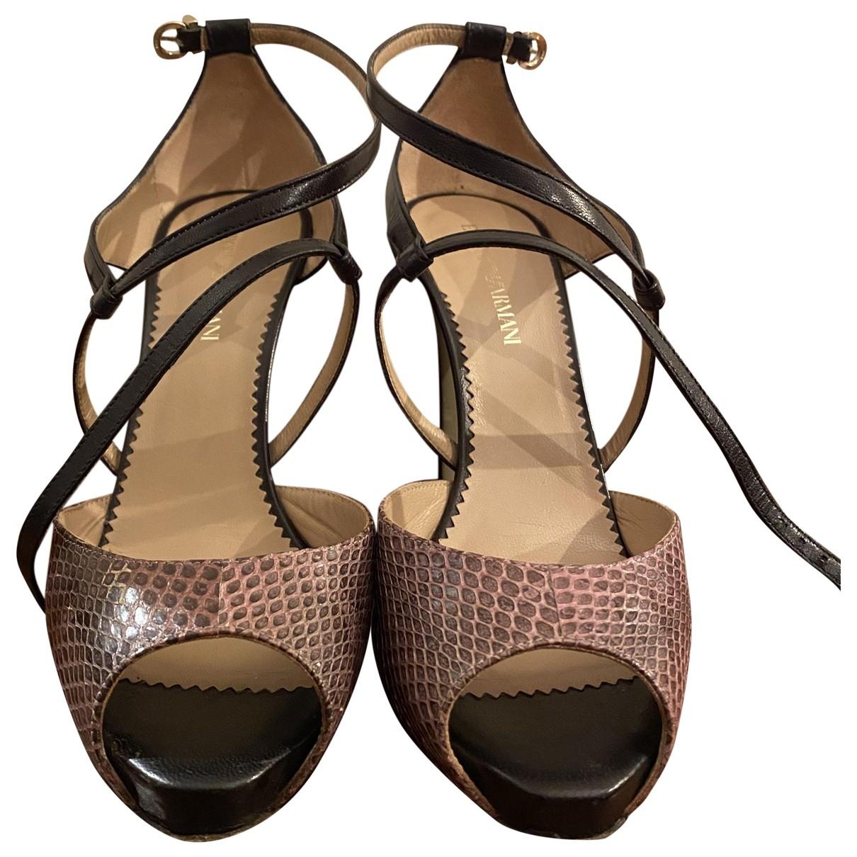 Emporio Armani \N Black Leather Heels for Women 38.5 EU