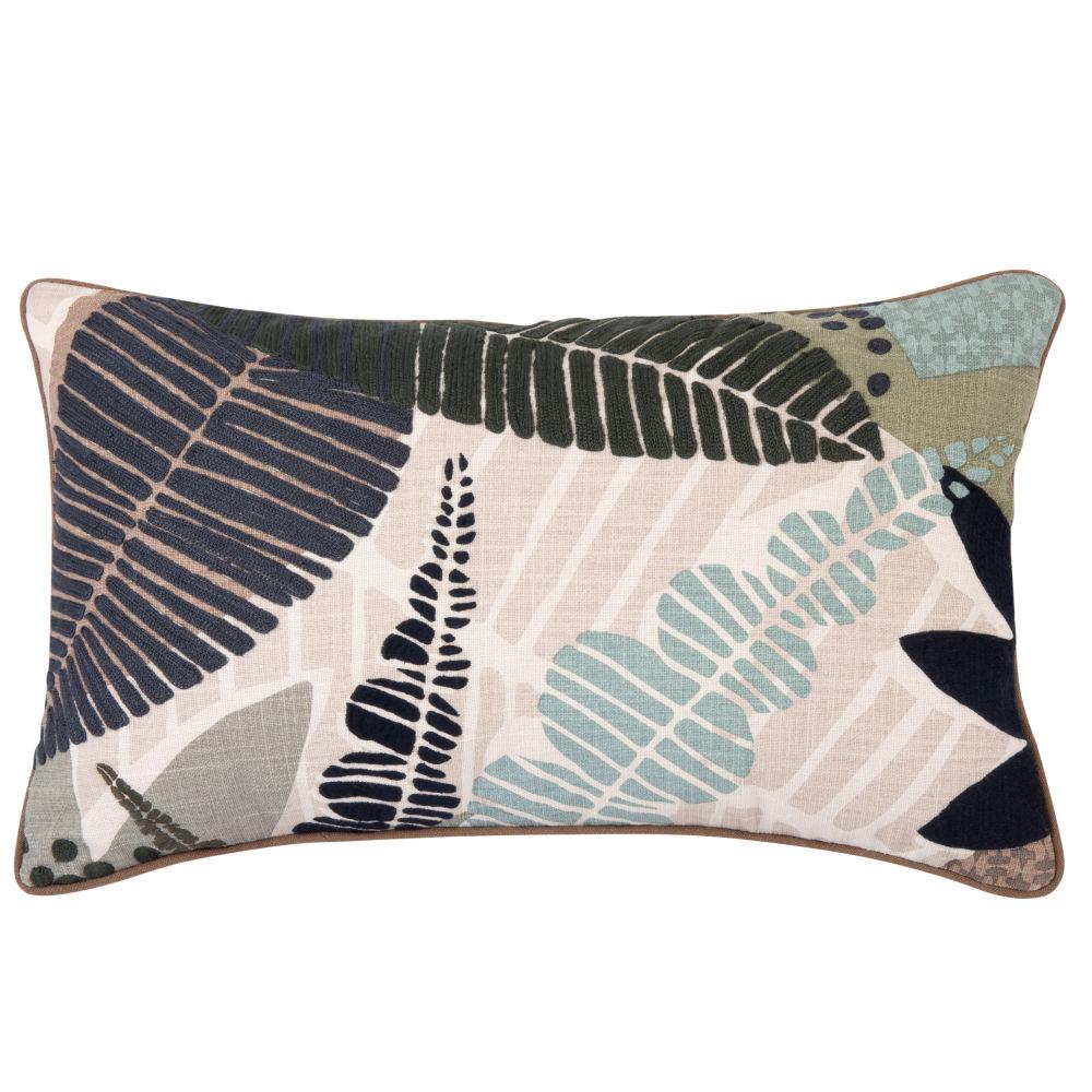 Kissenbezug aus Baumwolle, mit aufgedrucktem und gesticktem Blattmotiv 50x30