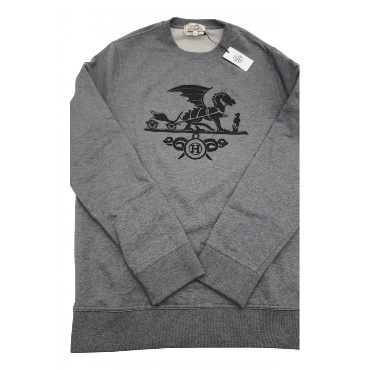Hermes \N Pullover.Westen.Sweatshirts  in  Grau Baumwolle
