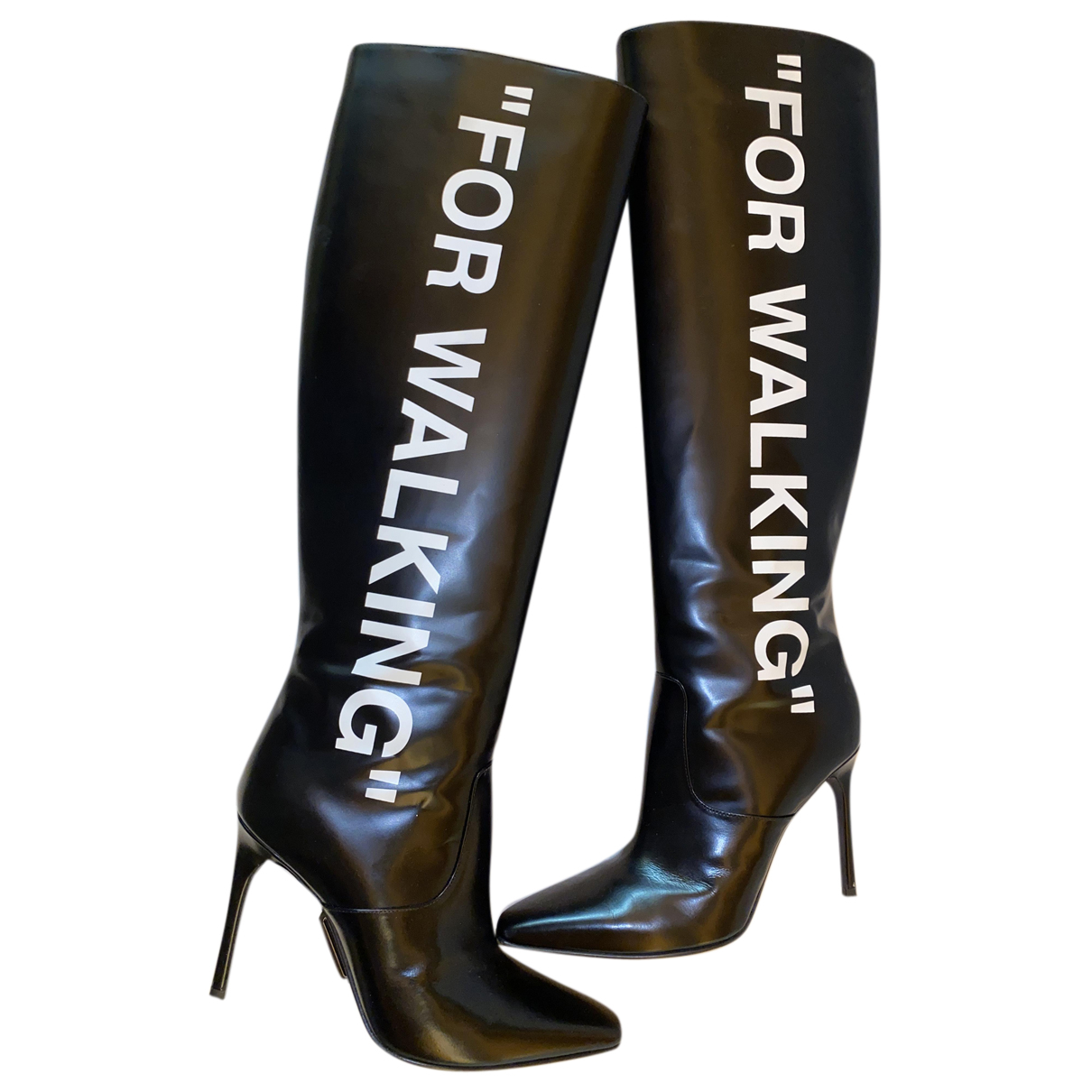 Off-white N Black Leather Boots for Women 38 IT