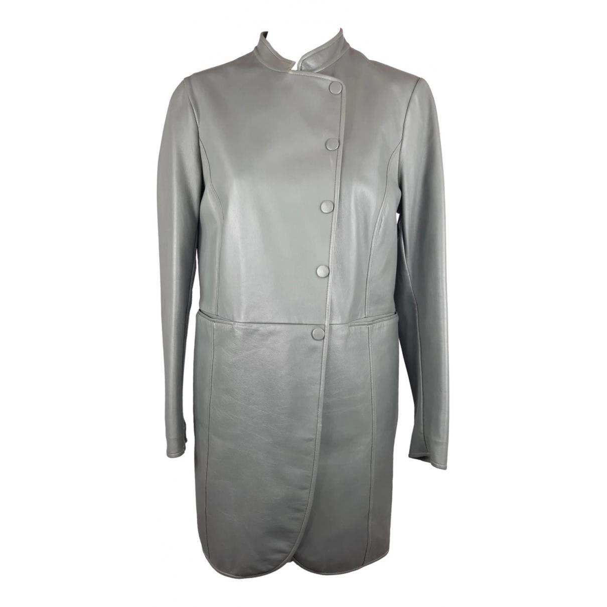 Emporio Armani - Manteau   pour femme en cuir - gris