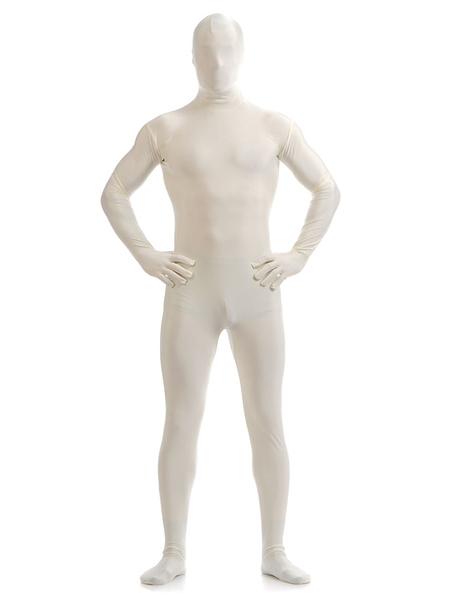 Milanoo White Zentai Suit Adults Morph Suit Full Body Lycra Spandex Bodysuit for Men