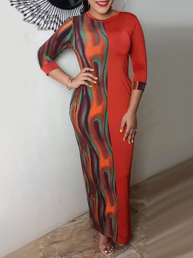 Ericdress Print Three-Quarter Sleeve Ankle-Length Mid Waist Regular Dress