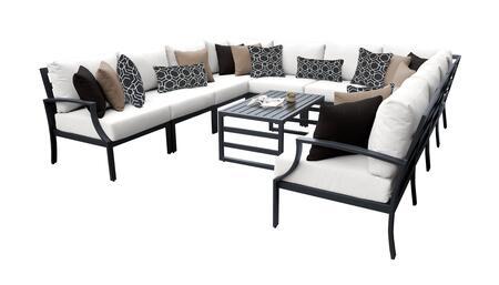Lexington LEXINGTON-11a-WHITE 11-Piece Aluminum Patio Set 11a with 1 Left Arm Chair  1 Right Arm Chair  2 Corner Chairs  6 Armless Chairs and 1