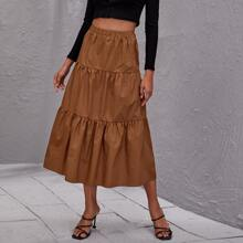 High Waist Flippy Hem Skirt