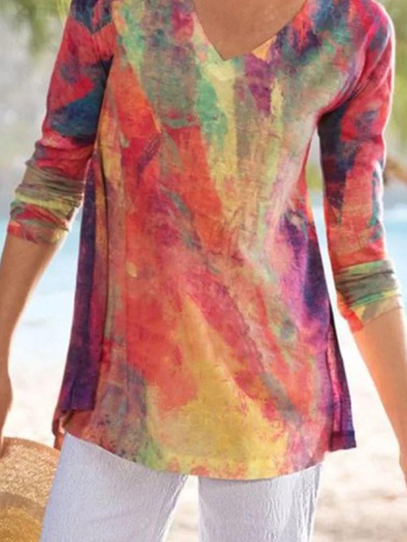 Ericdress Mid-Length Long Sleeve V-Neck Loose Casual T-Shirt