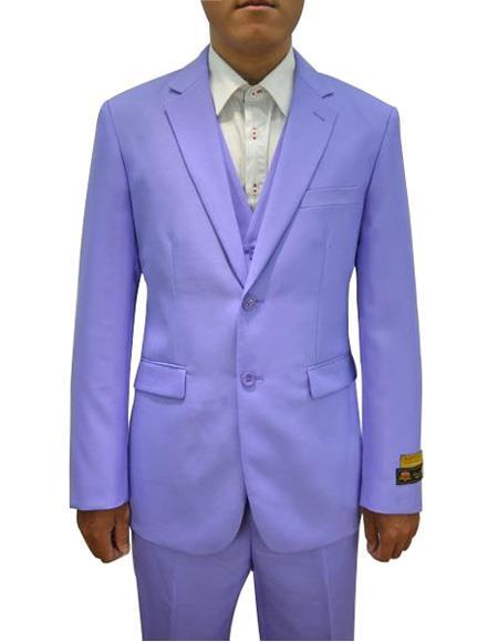 Alberto Nardoni Mens Vested 3 Piece Suit Lavender