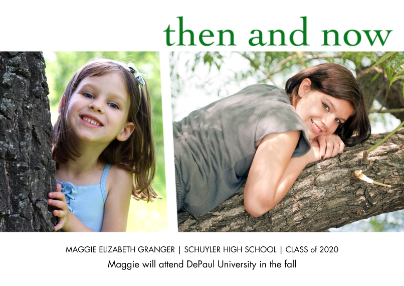 Graduation Announcements 5x7 Cards, Standard Cardstock 85lb, Card & Stationery -Then And Now by Well Wishes