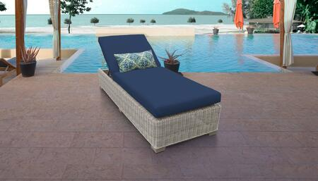 Coast Collection COAST-1x-NAVY Wicker Patio Chaise - Beige and Navy