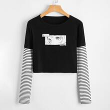 2 In 1 Figure Graphic Striped Tee