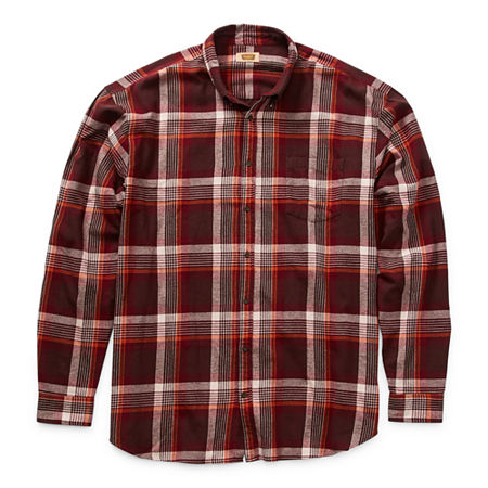 The Foundry Big & Tall Supply Co. Big and Tall Mens Long Sleeve Flannel Shirt, 6x-large , Brown