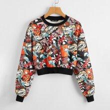 Drop Shoulder Pop Art Print Pullover