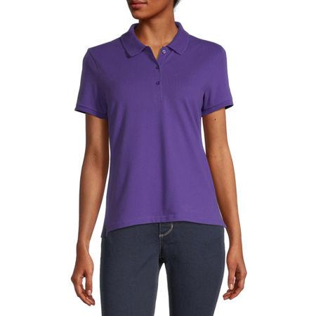 Arizona Juniors Womens Short Sleeve Knit Polo Shirt, X-small , Purple