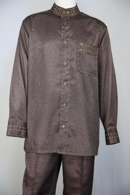 Mens Sharkskin Mandarin Collar Walking Suit Copper
