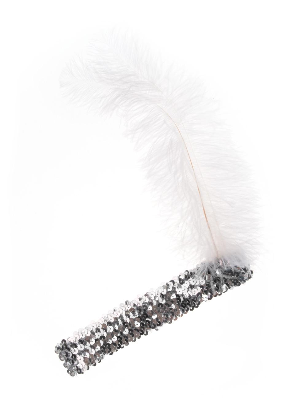 Kostuemzubehor Stirnband Pailletten mit Federn silber