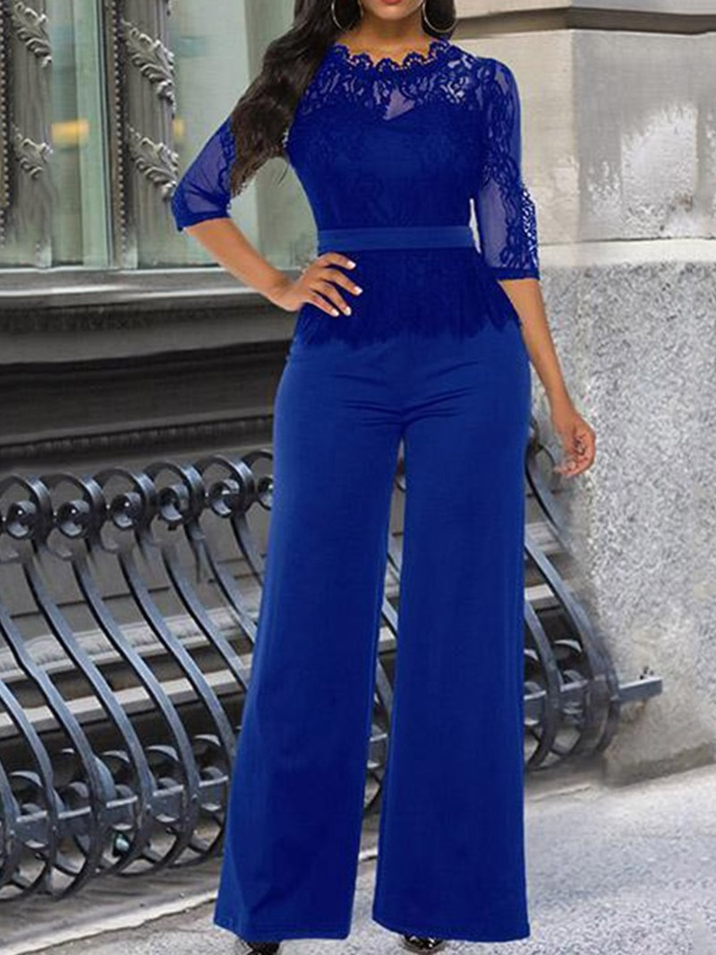 Ericdress Lace Full Length Elegant Plain Slim Jumpsuit