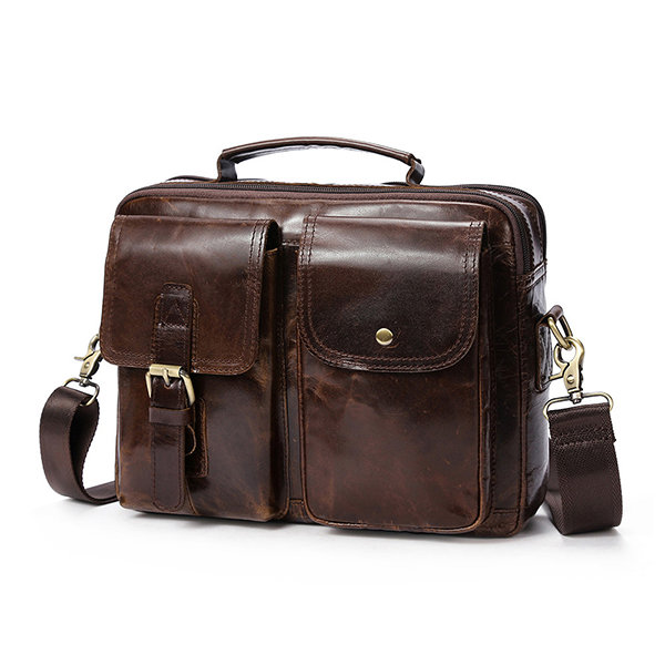Vintage Genuine Leather Business Shoulder Bag Crossbody Bag