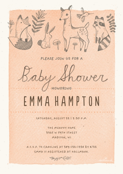 Baby Shower Invitations 5x7 Cards, Standard Cardstock 85lb, Card & Stationery -Woodland Creature Baby Shower