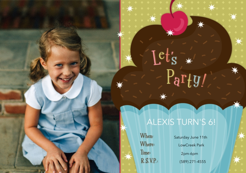 Kids Birthday Party Invites 5x7 Cards, Premium Cardstock 120lb, Card & Stationery -Let's Party