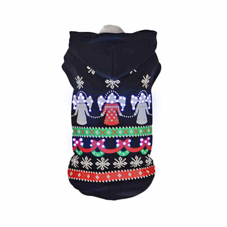 The Pet Life Pet Life LED Lighting Patterned Holiday Hooded Sweater Pet Costume, One Size , Black