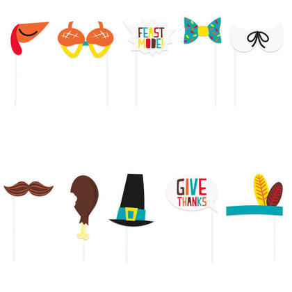 Cartoon Thanksgiving Photo Booth Props, 10ct