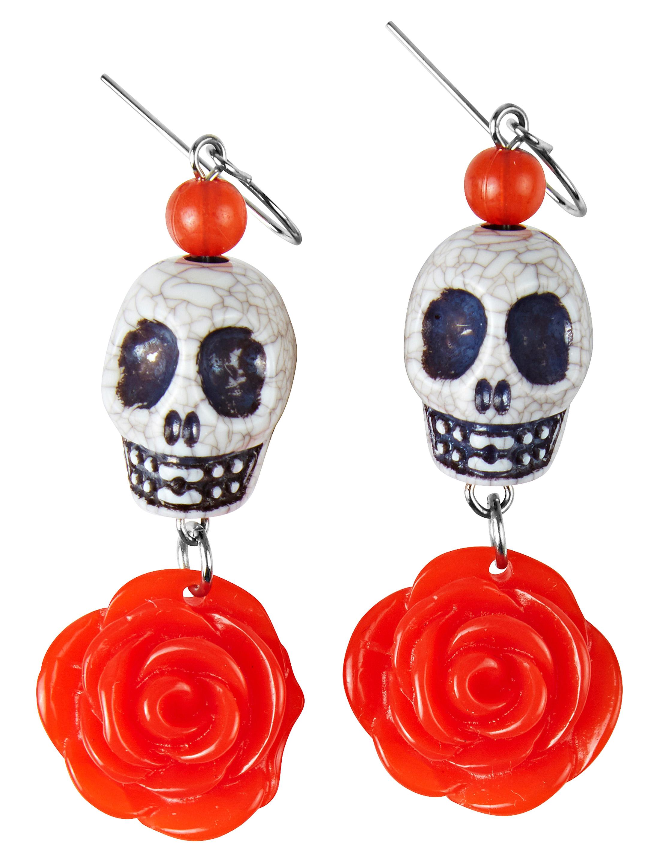 Kostuemzubehor Ohrringe mit Totenkopf und Rose Farbe: rot