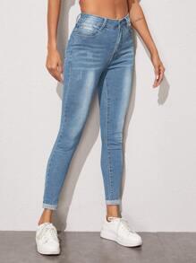 Slant Pocket Zip Fly Skinny Jeans