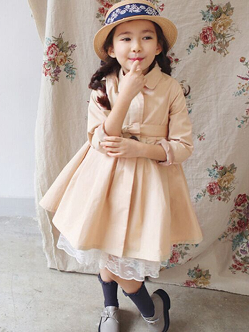 Ericdress High-Waist Belt Pleated Girls Outerwear