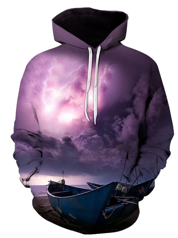Boats Dark Clouds and Lighting Printed 3D Graphic Print Realistic Casual Long Sleeve Hoodie Pullover Sweatshirt