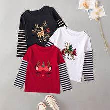 Toddler Girls 3pcs Striped And Christmas Print Tee